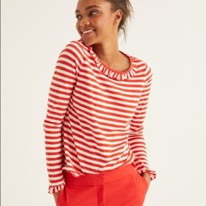 New Boden Red Ivory Stripe Olive Jersey Top
